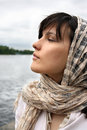 Woman in kerchief Royalty Free Stock Images