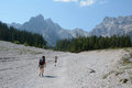 Woman and kid walking on talus in wimbachtal valley ramsau germany august two unidentified tourists alps germany Stock Image