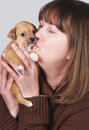 Woman kissing puppy Royalty Free Stock Images