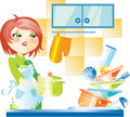 Woman on kitchen Stock Images