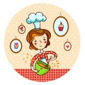 Woman in kitchen. Cook. Royalty Free Stock Image