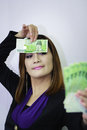 Woman with korean money asian counting Stock Image
