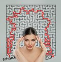 Woman with labyrinth. Intricacy and brainstorm concept Royalty Free Stock Photo