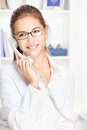 Woman on land line call Stock Image
