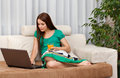 The woman with laptop. Stock Image