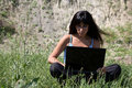 Woman with laptop in nature Royalty Free Stock Photos