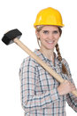 Woman with large hammer Royalty Free Stock Photo