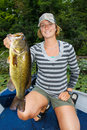 Woman Large Mouth Bass Fishing Royalty Free Stock Photo