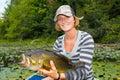 Woman Large Mouth Bass Fishing Royalty Free Stock Photo