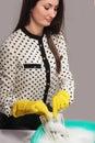 Woman launder shady money (illegal cash, dollars bill, corruptio Royalty Free Stock Photo