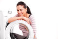 Woman launderers clothes studio photo of Royalty Free Stock Photography