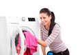 Woman launderers clothes studio photo of Royalty Free Stock Image