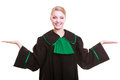 Woman lawyer attorney in classic polish gown with hands copy space law court or justice concept portrait young poland black green Stock Photo