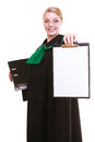 Woman lawyer attorney in classic polish gown holds clipboard blank sign Stock Photography