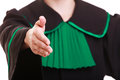 Woman lawyer in polish gown giving hand law court or justice concept womn attorney wearing classic poland black green welcome Stock Image