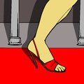 Woman leg in red shoes on the red carpet Royalty Free Stock Images