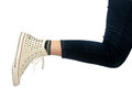 Woman leg in sport shoe modern Royalty Free Stock Photos