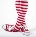 Woman legs in color red socks Stock Photography