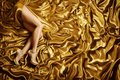 Mujer Pie en oro seda tela moda oro zapatos