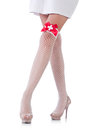 Woman legs with stockings on white Royalty Free Stock Photo