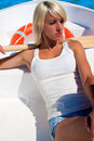 A woman in a lifeboat. Heat. Royalty Free Stock Photo