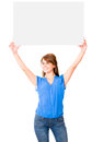 Woman lifting a banner Royalty Free Stock Image