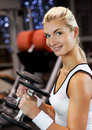 Woman lifting heavy dumbbells Royalty Free Stock Photography