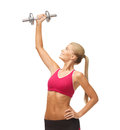 Woman lifting steel dumbbell picture of young sporty Royalty Free Stock Photos