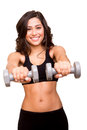 Woman lifting weights beautiful fitness Stock Photo