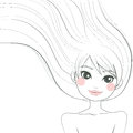 Woman line art illustration hand drawn of a beautiful with long hair waving freely with the wind Stock Images