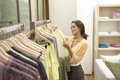 Woman Line of Clothes Royalty Free Stock Photo