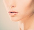 Woman lips beautiful young close up Stock Photo