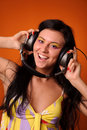 Woman listen music Royalty Free Stock Photos