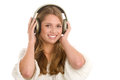 Woman litening to music Royalty Free Stock Photo