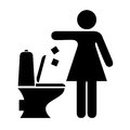Woman littering in toilet sign Royalty Free Stock Photo