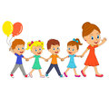 Woman and little boys and girls go and holding hands Royalty Free Stock Photo