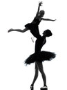 Woman and little girl  ballerina ballet dancer dancing silhouett Royalty Free Stock Images