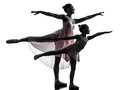 Woman and little girl  ballerina ballet dancer dancing silhouett Royalty Free Stock Photo