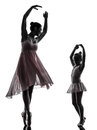 Woman and little girl ballerina ballet dancer dancing silhouett in silhouette on white background Royalty Free Stock Photo