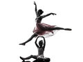 Woman and little girl ballerina ballet dancer dancing silhouett in silhouette on white background Stock Photo