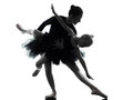 Woman and little girl ballerina ballet dancer dancing silhouett in silhouette on white background Stock Photography