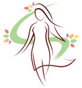 Woman logo a standing walking icon Stock Image