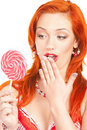 Woman with lollipop Stock Photography