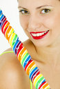 Woman with a lollypop Stock Photography