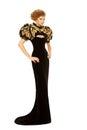 Woman In Long Black Luxury Fas...