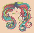 Woman with long funky colorful hair Stock Photography