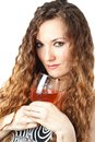 Woman with long hair holding a glass of wine on white background beautiful Stock Photo
