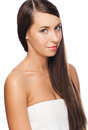 Woman with long straight hair Royalty Free Stock Photography