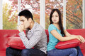 Woman look with cold stare quarrel her boyfriend and Stock Image