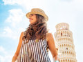Woman looking into distance in pisa Royalty Free Stock Photo